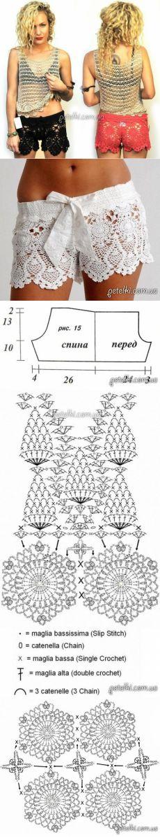 Ажурные вязаные шорты крючком. Схемы