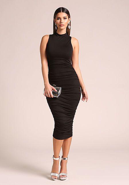813a8dafd385 Black Ruched Midi Bodycon Dress - New   perfectly bal   Bodycon ...