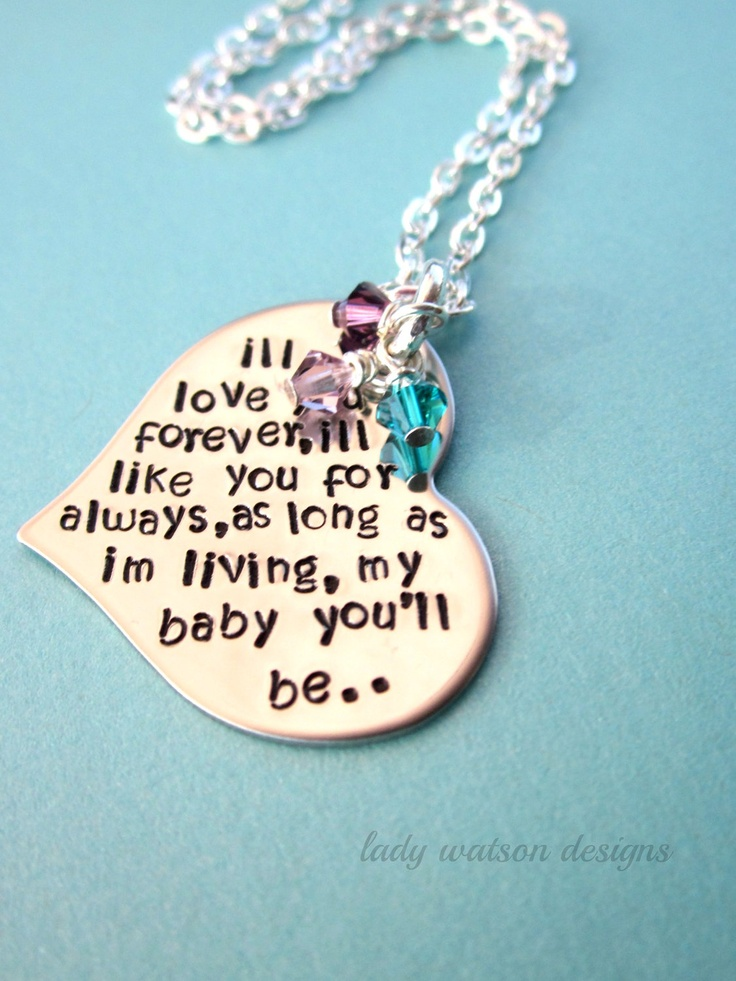 I'll Love You Forever Book Quote Heart Handstamped Necklace, birthstones, Mother Jewelry, Stillbirth, Infant loss. $28.00, via Etsy.