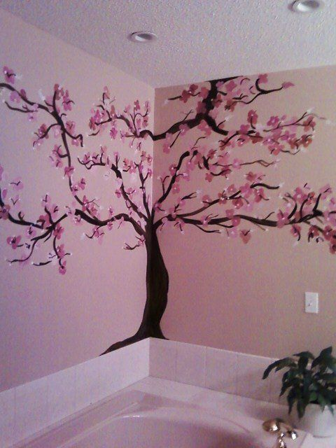 Cherry Blossom in bathroom...I love browns and pinks together!
