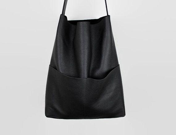 schwarzer Leder Shopper, Tote Bag, Leder Tote, Handtasche, Schultertasche…