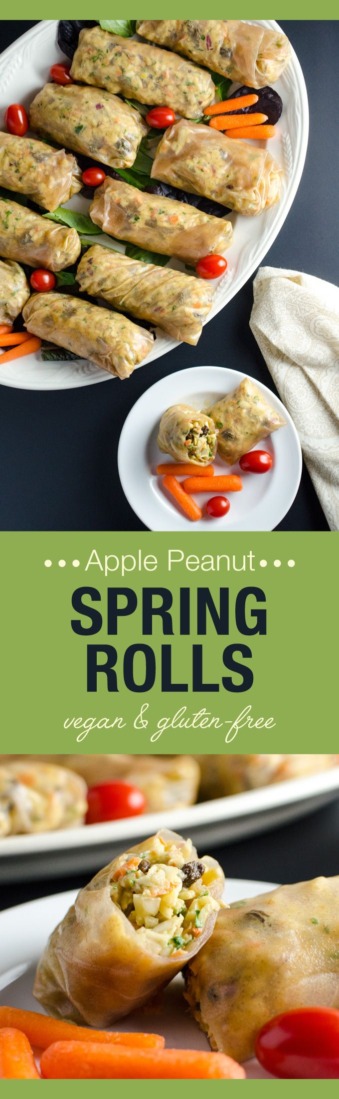 171 best vegan hors party foods images on pinterest vegetarian apple peanut spring rolls this easy raw vegan and glutenfree recipe offers a lovely blend of textures and sweet spicy flavors forumfinder Choice Image