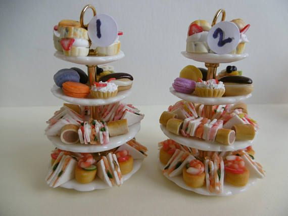Dollshouse high tea china plate stand with four layers of