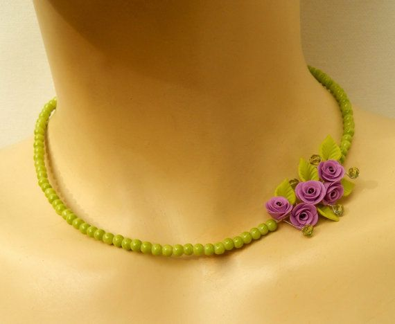 Flower Necklace Green Necklace Lavender Jewelry by insoujewelry