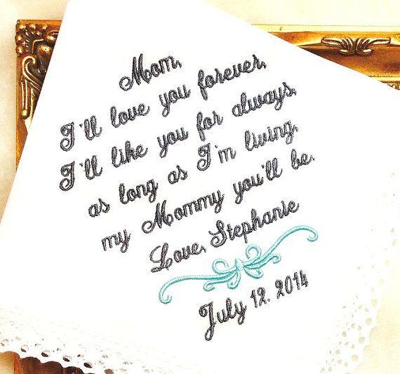 Mother of The Bride Handkerchief  I'll love your by MisterandMrs, $22.95 #bride #weddings #MOB #Motherofthebride