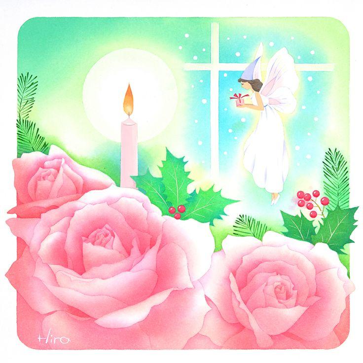 メルヘンイラスト 赤いバラとクリスマスの妖精(12月)