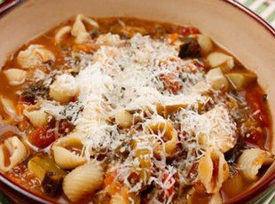 Quick Minestrone Soup Recipe I sautéed 3 cloves of garlic, used beef broth and a small can of tomato paste. Delicious!