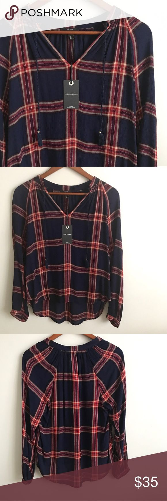 Lucky Brand Plaid Top Lucky Brand Top  - NWT  - Size small - Navy + red/pink plaid - V-neck with rope tassels - High/low lengths  - 100% rayon Lucky Brand Tops