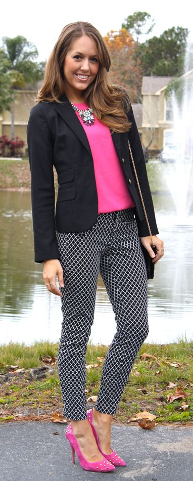 pink shirt + pink shoes + black and white pants + black blazer