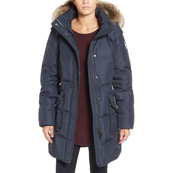 Women's Pajar Bryce Three Quarter Quilted Down Coat With Detachable... ($520) ❤ liked on Polyvore featuring outerwear, coats, navy, long down coat, navy down coat, navy parka, down parka coat and navy blue down coat