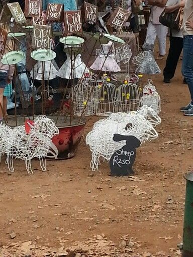 Metal art: sheep and bunnies