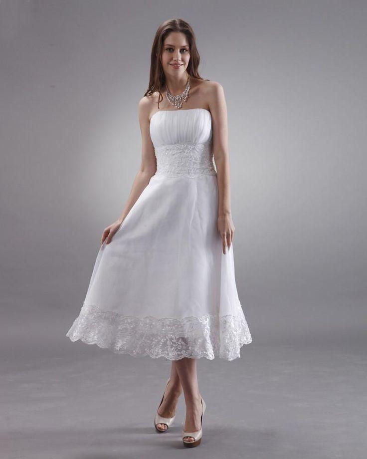 Strapless Tea Length Lace Mini Bridal Gown Wedding Dress