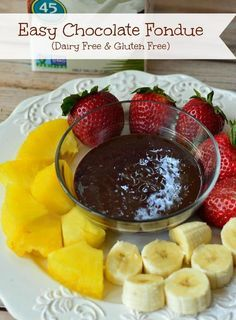 This dairy free chocolate fondue recipe is easy enough to make for an after school snack and fancy enough for a special occasion. Use fun dippers of fruit!