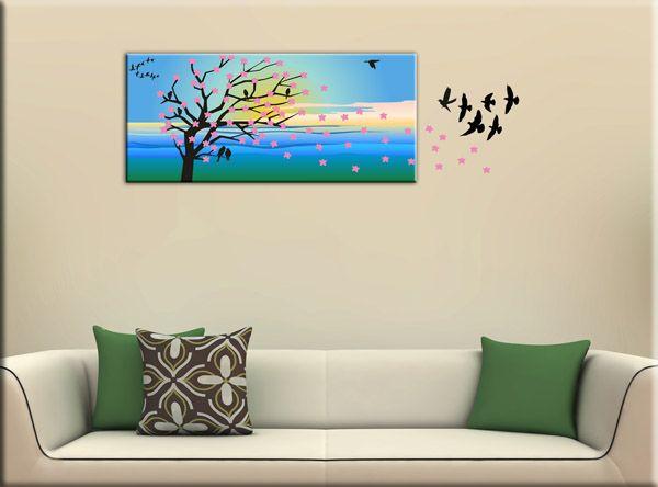 Quadro moderno albero adesivi murali sono bellissime decorazioni da parete realizzate con una stampa su tela e wall stickers di due colori che la completano.