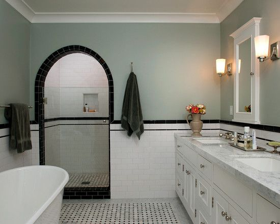 Black liners black chair rail master bath ideas What color to paint bathroom with gray tile
