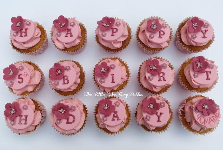 Pretty pink birthday cupcakes  www.littlecakefairydublin.com www.facebook.com/littlecakefairydublin
