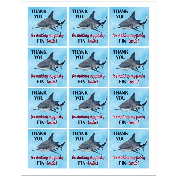 Shark Birthday Party Favor Tags