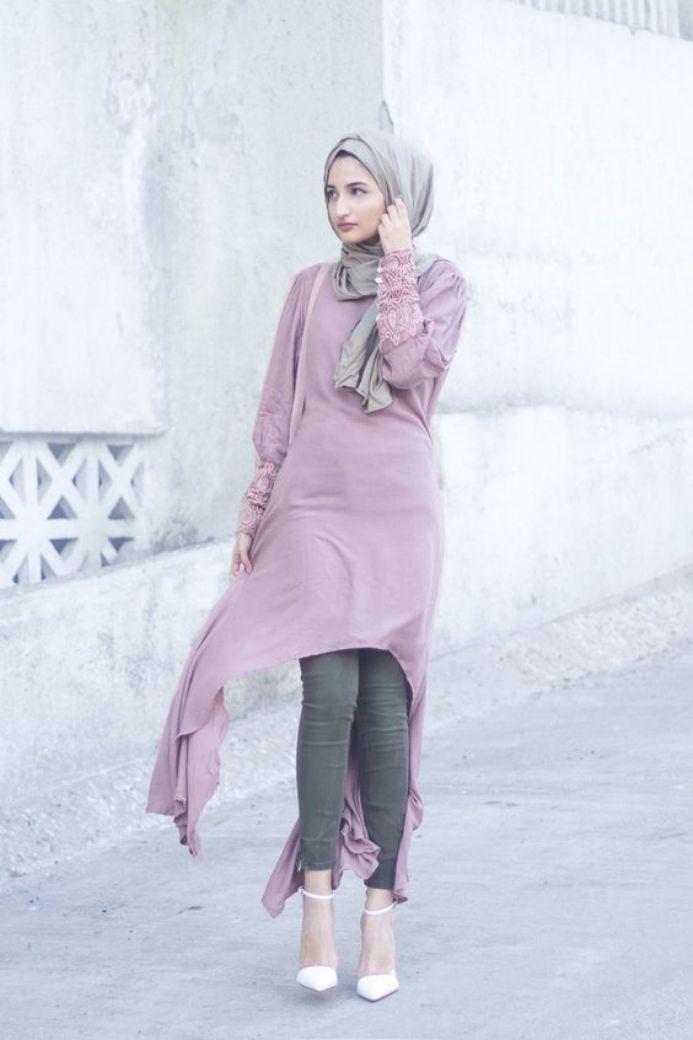 tampilan baju muslim cardigan bergaya casual