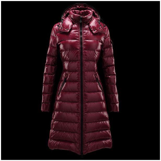 Discount Moncler Fashion Claret Lange Mock Kragen dünnes Warm Frauen Coats Outlet  Moncler lagerverkauf