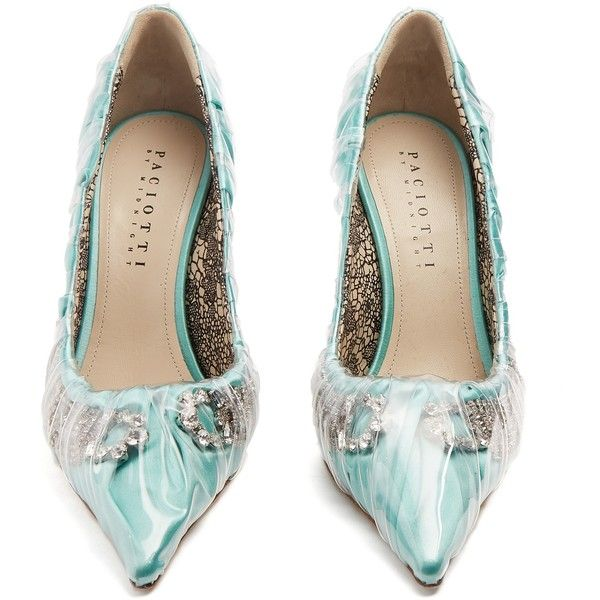 Paciotti by Midnight Crystal-embellished ruched satin pumps (€1.460) ❤ liked on Polyvore featuring shoes, pumps, mint pumps, satin shoes, cesare paciotti pumps, mint green shoes and clear shoes