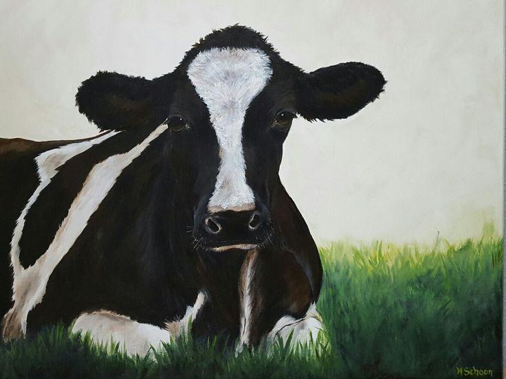 Landelijke stijl schilderij koe  Acrylverf 50x60cm www.schilderijenbydini.com