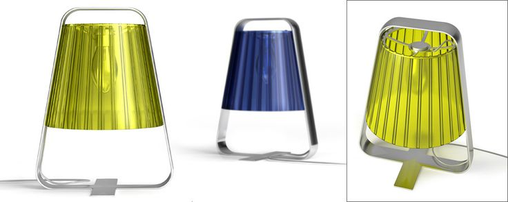 Tool- A table lamp Manworksdesign  The idea is to combine elements – classic semi-transparent plastic lamp-shade built in chromium steel frame. The frame's designed with a handle to carry.  Status - concept, not in production.