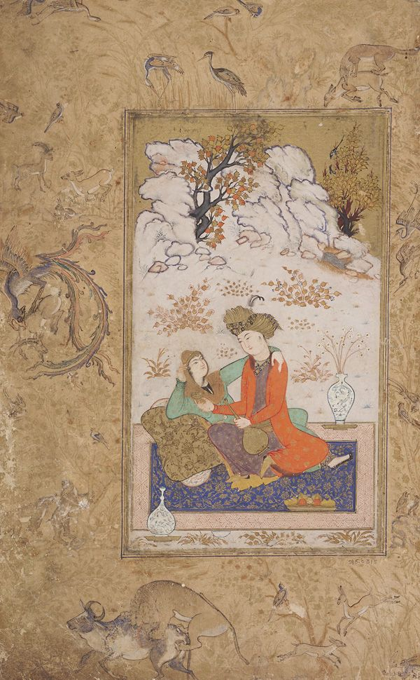 Couple in a landscape ca. 1610-1615  Opaque watercolor and gold on paper mounted on an album page H: 33.7 W: 21.0 cm Herat?, Iran