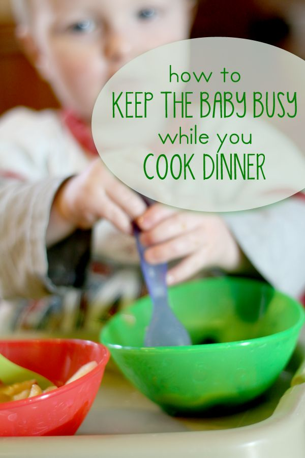 Quick baby activities to keep baby busy while you're in the kitchen.