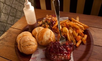 BBQ Pork w/ rolls, korean salad, BBQ sauce & parmesan fries at the Forresters in Surry Hills, mmmmmmmmm!