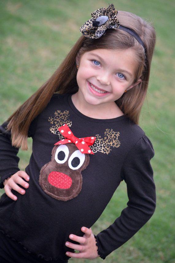Girls Christmas Chenille Reindeer Applique T Shirt Or