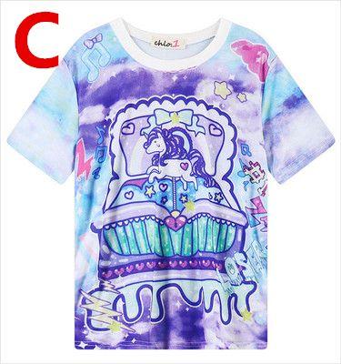 Japanese Harajuku Galaxy Unicorn T-shirt KW179701