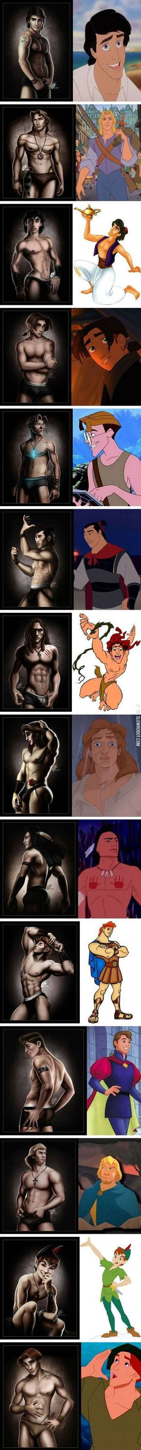 If Disney princes were underwear models. Interesting take on Disney male icons.