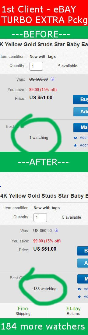 1st customer successfully done! I optimized her profile and deliver targeted traffic to Baby Earrings #Jewelry  Client had 1 watcher on 1st day of campaign after 7 days client got 184 more tagrted watchers what is a big progress!  for more info about my services visit: http://www.smartseoservice.com/convert-web-traffic-into-sales-or-leads/