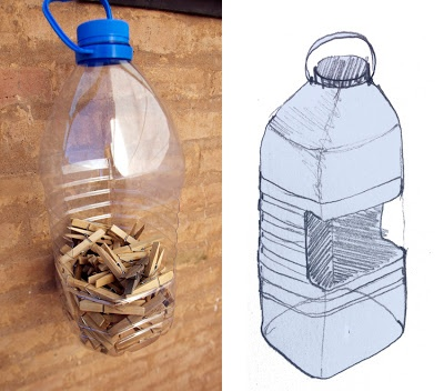 from recycled plastic bottle to clothespin container / El hada de papel: Botella PET / PET Bottle / PET Flasche