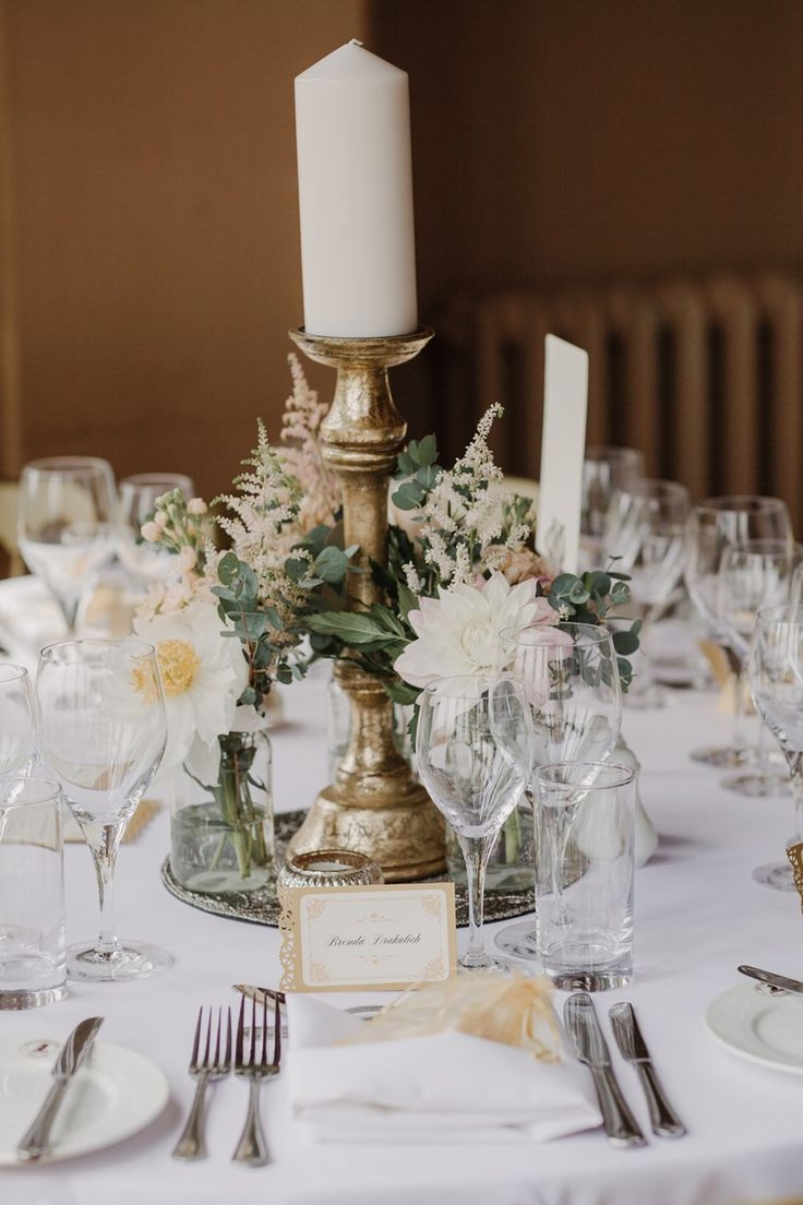 English Country House Wedding Centerpiece