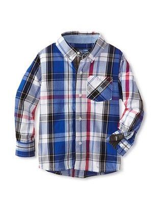 63% OFF Andy & Evan Boy's 2-7 Plaid Like Dad Shirt (Bright Blue)