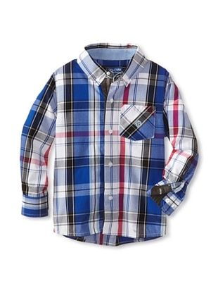 63% OFF Andy & Evan Boy's 2-7 Plaid Like Dad Shirt (Bright Blue)