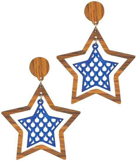 Oorstekers bruine hanger van hout met paarse ster