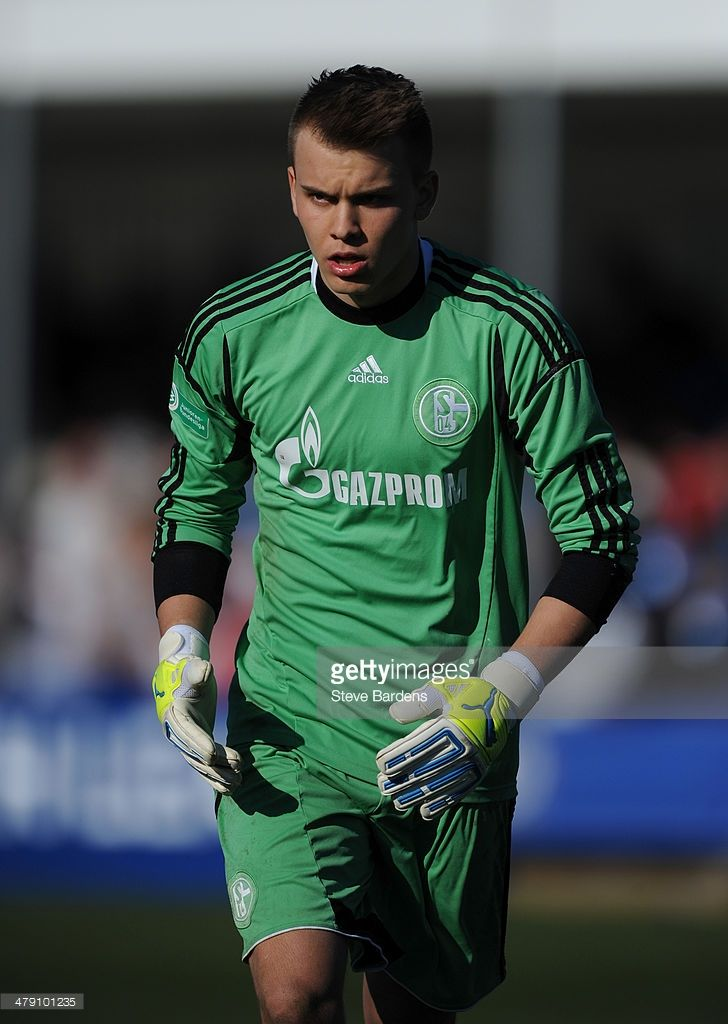 Timon Wellenreuther of FC Schalke 04 during the UEFA Youth League Quarter Final match between Chelsea and FC Schalke 04 at the Chelsea Cobham training ground on March 16, 2014 in Guildford, England.