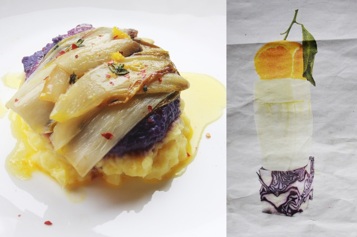 Baked chicory with red cabbage puree, mashed potatoes and orange-butter sauce    #healthy #healthyrecipes #easydinnerrecipe #quinoa #fresh #lightrecipes #vegetarianrecipes #redcabbage #orange #vegetarian