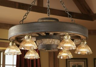Rustic Lodge Reproduction Wagon Wheel Small Chandelier with Down Lights