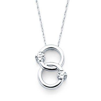 A simpler version of the marriage symbol necklace.  I personally like this one better with the two larger diamonds and otherwise bare gold.  A bigger statement.  :~) www.quinnsgoldsmith.com