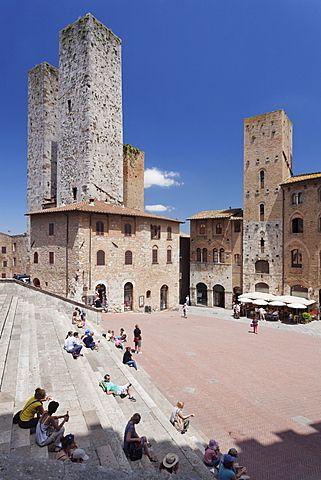 Piazza Duomo, San Gimignano, Patrimonio de la Humanidad, Provincia de Siena, Toscana, Italia, Europa