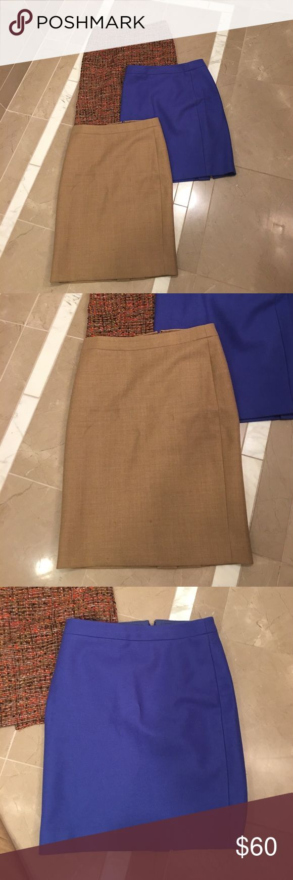 Bundle of 3 J. Crew/ J. Crew Factory pencil skirts Bundle of 3 pencil skirts in good to great condition. One skirt is J. Crew (tan one) and other ones are J. Crew Factory. Excellent deal given each skirt is also selling individually, please see individual listings on my closet for more details on each. J. Crew Skirts Pencil