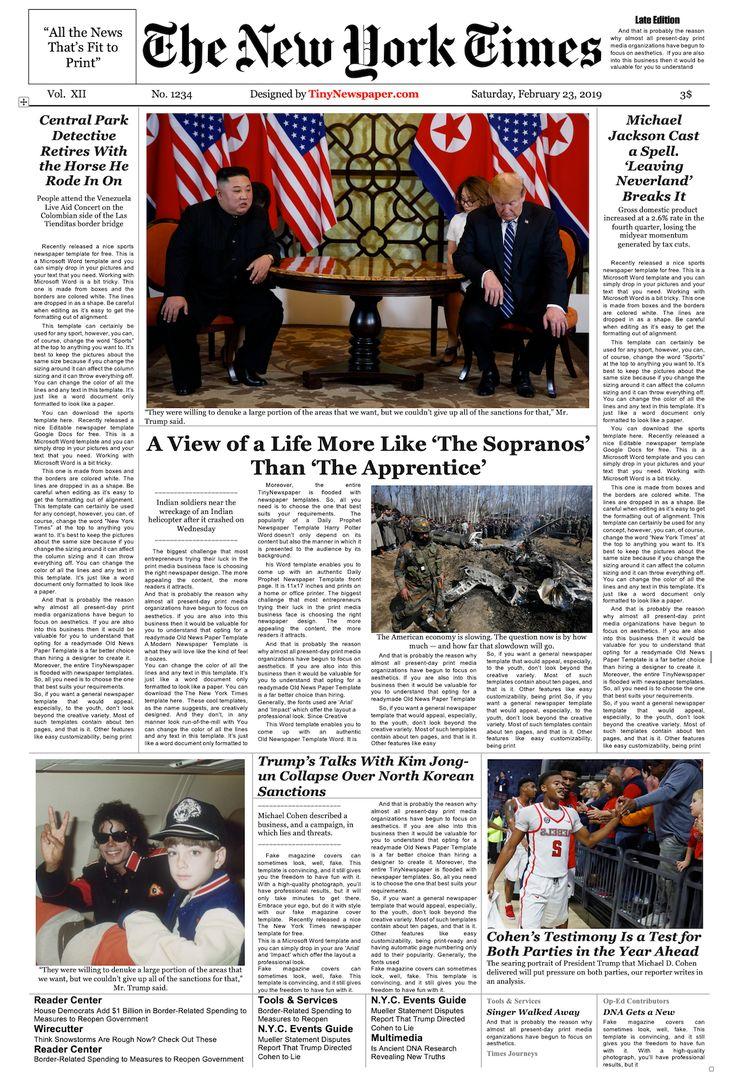 Editable New York Times Newspaper Template Newspaper Template Newspaper Layout Times Newspaper New york times newspaper template google docs