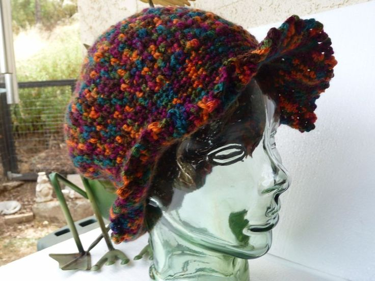Colorful Handmade Bright Multi-color Crochet Bucket Style Sun Hat #Handmade #Bucket