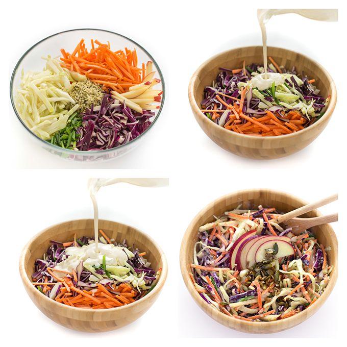 how to make vegan light coleslaw - come preparare la coleslaw vegan light ricetta