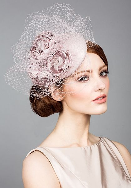 Silk taffeta pillbox with hand made flowers and veiling - Rachel Trevor Morgan