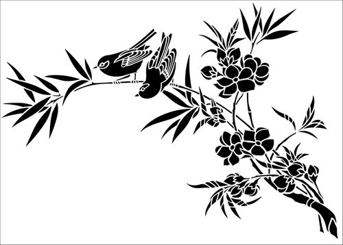 Birds & Blossom No 1 stencil from The Stencil Library JAPAN range. Buy stencils online. Stencil code JA114.