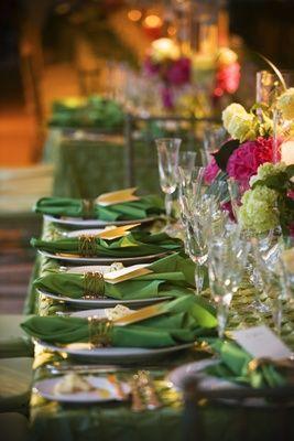 Green Wedding Tablescape    Photography: Melissa Mermin   Love Stories   Read More:  http://www.insideweddings.com/weddings/charming-english-garden-wedding-in-new-jersey/284/